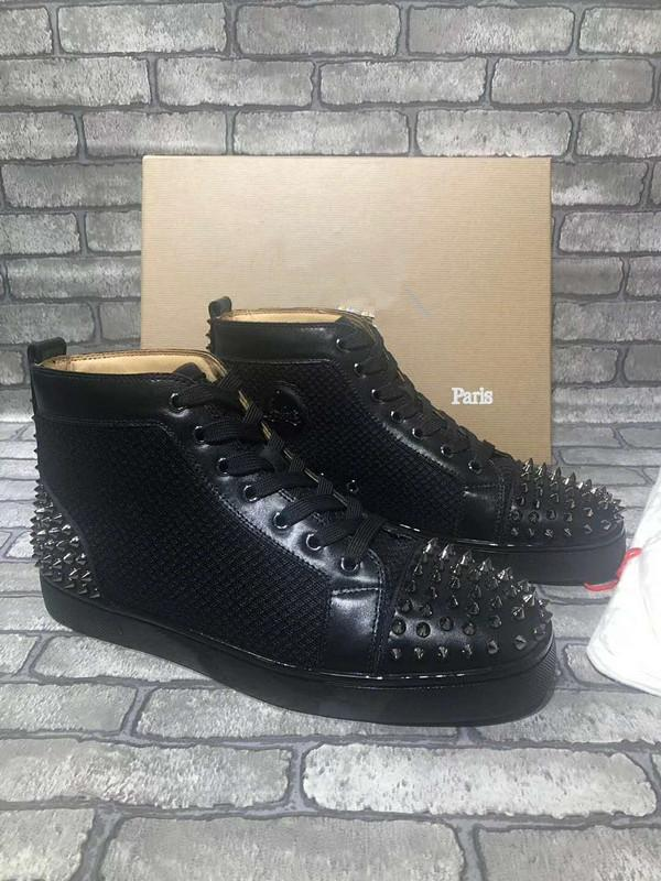 2020 Italy Handmade Brand Red Bottom Sneaker Orlato Men Shoes High Top Calfskin Leather Black Aclouflat Spikes Flats Sneaker Wholesale