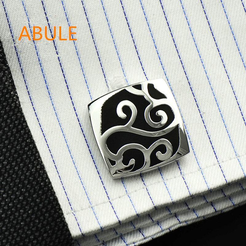 ABULE Luxury jewelry shirt cufflinks mens Brand black enamel cuff link  button High Quality Wedding Groom Fashion Free Shipping