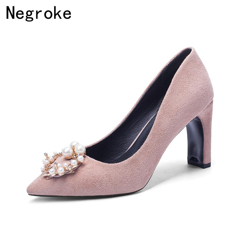 9758aa691e9b Dress Shoes Sexy Pearl High Heels Women Shallow Office Wedding Dress 2019  New Spring Kid Suede Pointed Toe Woman Pumps Big Size 43 Green Shoes Boots  Shoes ...