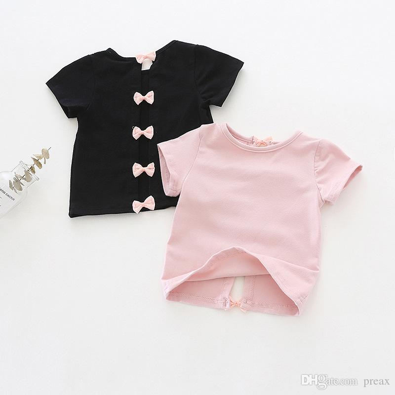 84fc405939b89 Acheter Korean Baby Girls Summer Unique Bow Backless T Shirts Enfants  Vêtements Pour Filles Pink Bowknot À Manches Courtes Enfant Chemises Col  Rond Tops ...