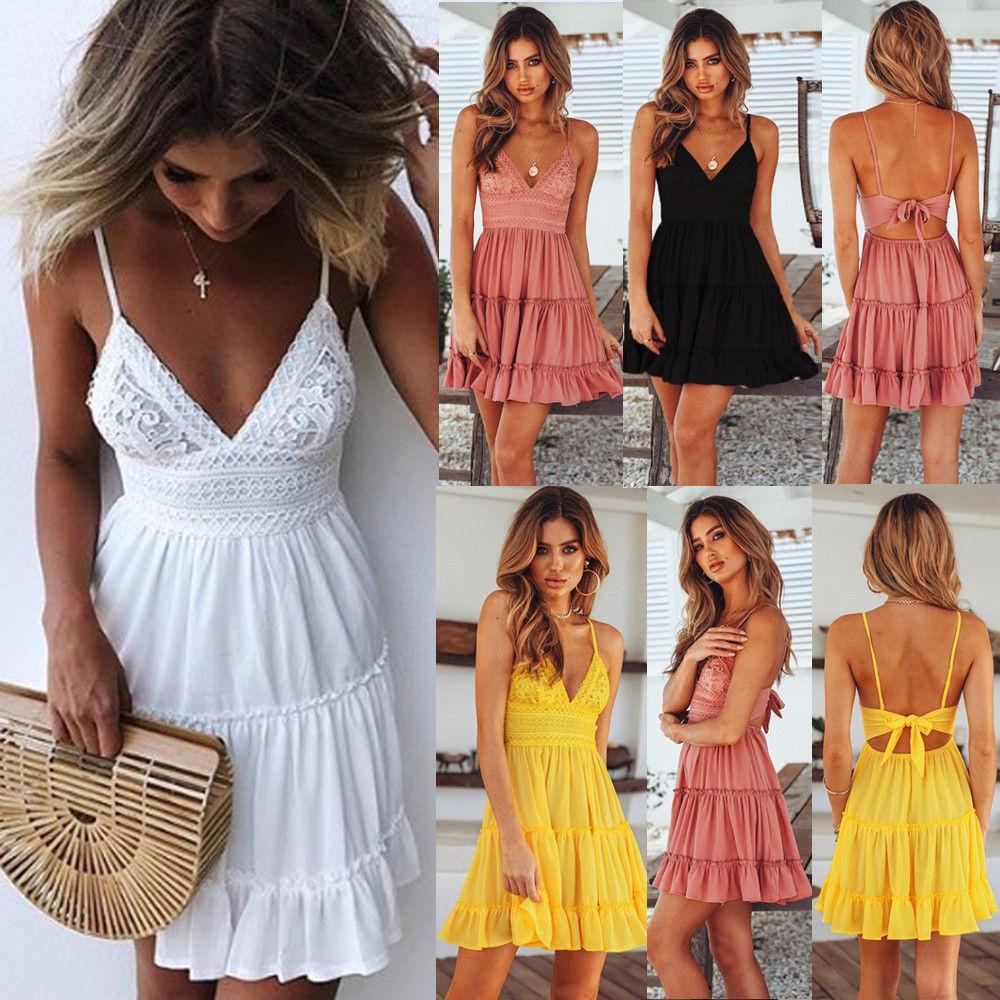 Women's Clothing New Fashion 2019 Women Summer Sexy White Lace Backless Spaghetti Strap Dress Casual V-neck Mini Beach Sundress Halter Bow Elegant Dresses Carefully Selected Materials