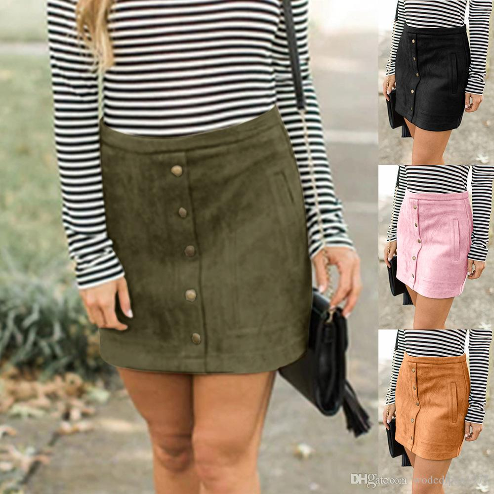 1208b7d2547909 2019 Womens Sexy Slim Suede Pencil Skirts For Female Autumn Winter Europe  And America Style Fashion Button Pocket Mini Skirt From Wodedipan1977, ...