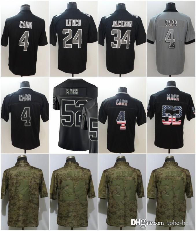 best service b9a51 f2f2a Oakland 4 Derek Carr Jerseys 52 Khalil Mack Raiders 2018 Salute to Service  USA Flag Impact Lights out Black Rush Drift Camo Olive Limited