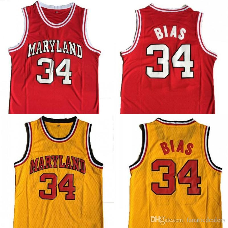 best service e8cf6 092cb Maryland Basketball Jersey #34 Len Bias All Stitched Men College Basketball  shirt Red Yellow S-2XL Free Shipping