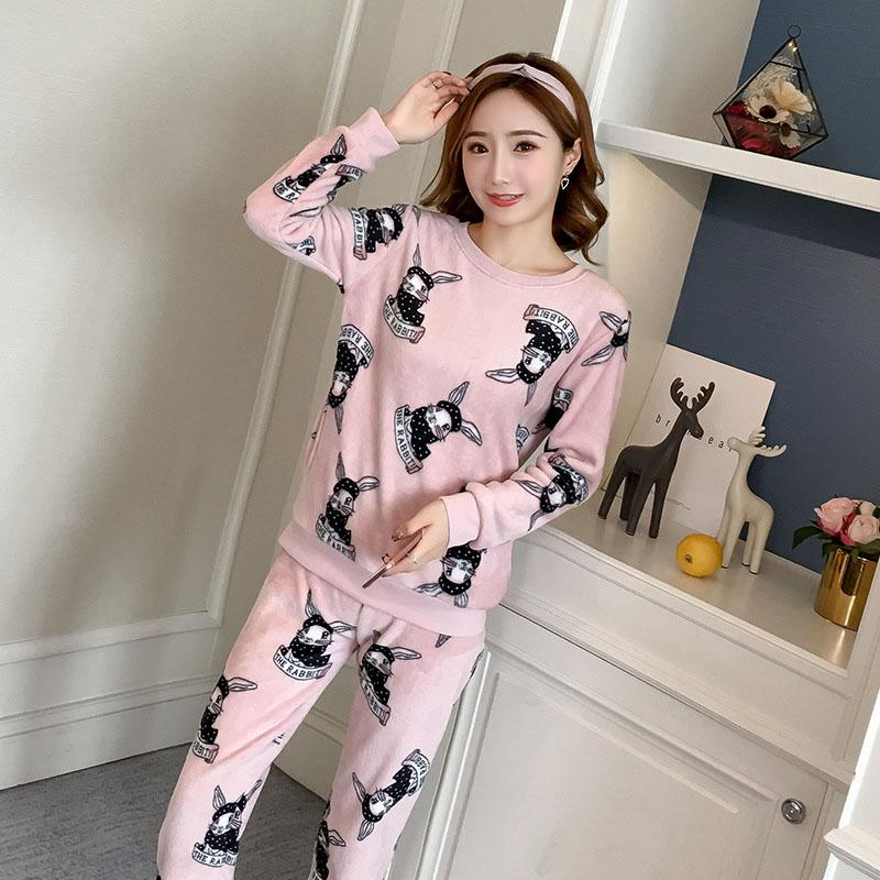 f44baf2c36 2019 SKYYUE Coral Velvet Pajamas Women Autumn Winter Fresh Rabbit Sweet  Comfortable Cute Thick Warm Flannel Home Service From Kuaikey
