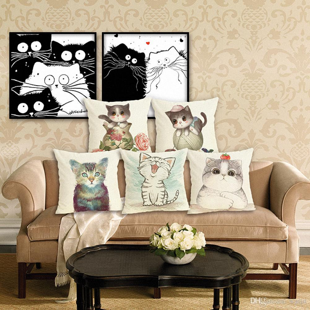 45cm lovely cat animal cotton linen fabric throw pillow case 18inch rh dhgate com