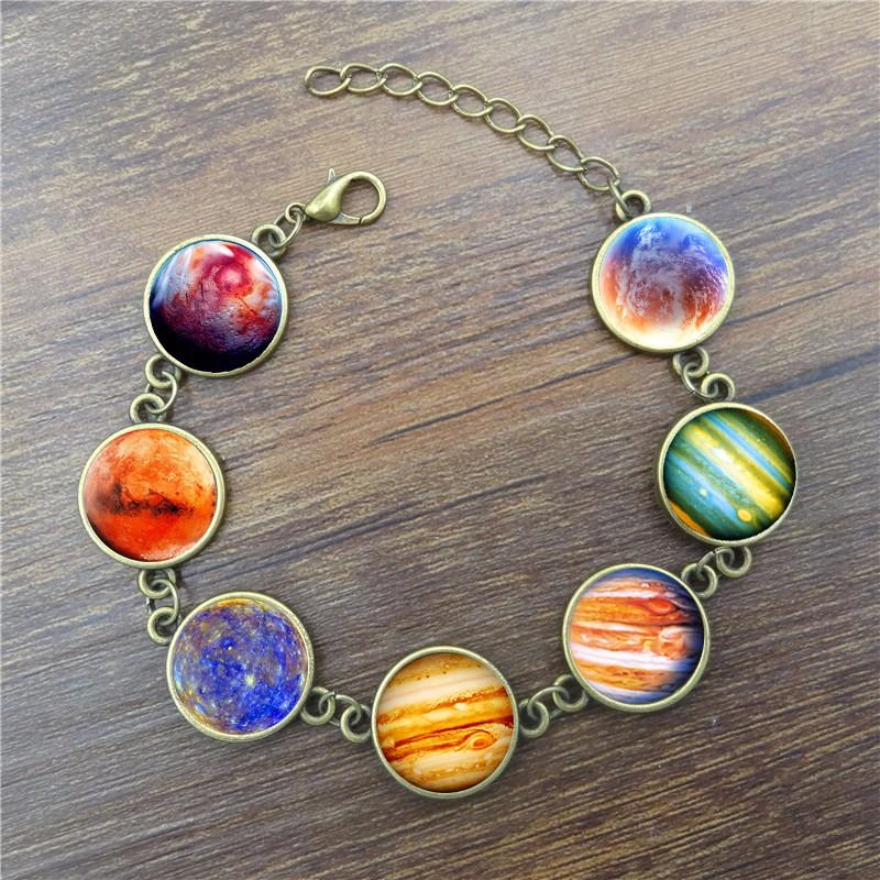 XUSHUI XJ Galaxy Planet Glass Cabochon Charm Bracelet Women Vintage Diy Jewelry antique bronze Chain Link bracelets & bangles