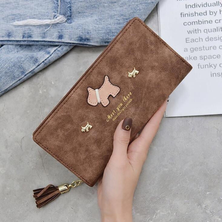 Factory Wholesale Brand Women Bag Fashion Matte Women Wallet Card Leather  Hand Take Money Clip Sweet Cute Cartoon Tassel Leather Long Walle Mens  Front ... a8b64fd076