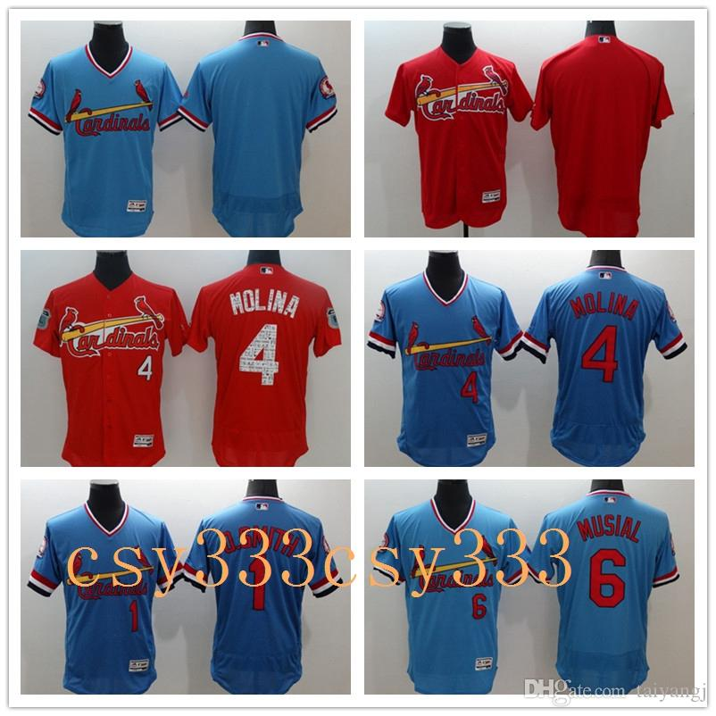 reputable site 6113c a5841 St. Louis Cardinals 4 Yadier Molina Jersey #6 Stan Musial Cooperstown  Vintage #1 Ozzie Smith Baseball Jerseys Flexbase Cool Base Cream