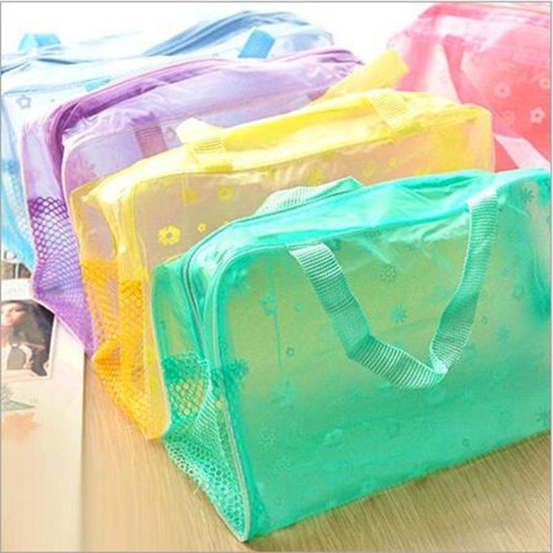 Women Travel Transparent Cosmetic Bag Zipper Makeup Case Make Up Bags Handbag Organizer Storage Pouch Toiletry Wash