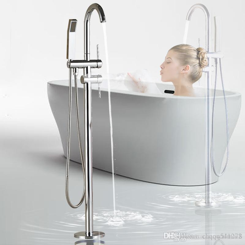 2019 floor mounted bathtub faucet chrome with hand shower bathroom rh dhgate com