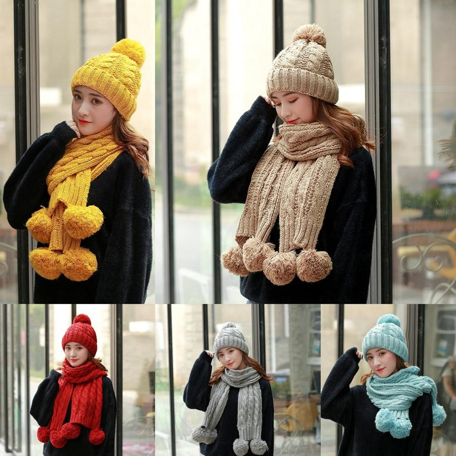 Woman Knitted Hats Scarf Sets Fashion Outdoor Warm Crochet Beanies Ski Cap Girl Knit Ring Scarves Party Hat TTA1838