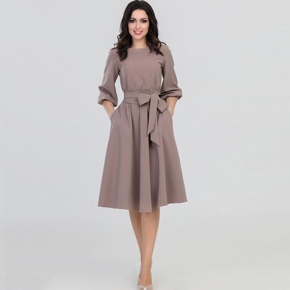 d25794a155d Compre Young17 Mujeres Primavera Otoño Vestido Largo Caqui Partido Plisado  Elegante Cinturón Retro Señoras Vestidos De Oficina Vestido 2019 Primavera  ...