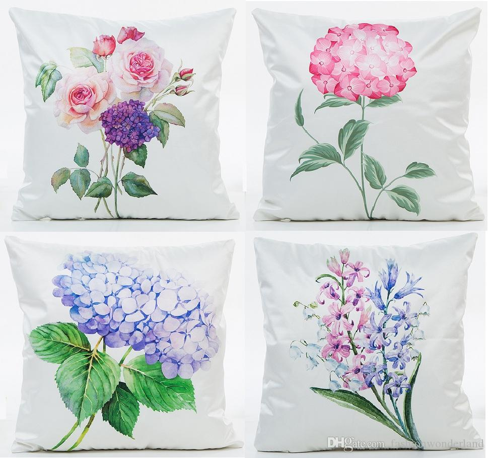 rose flower purple hydrangea watercolor floral cushion cover pillow rh dhgate com