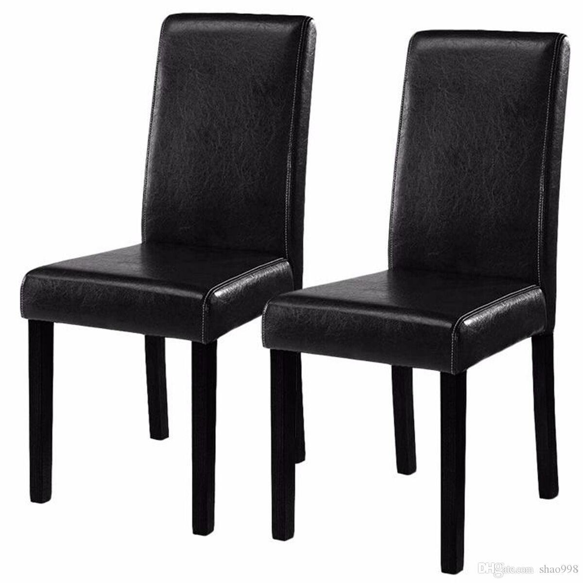 of 2 black elegant design leather contemporary dining chairs home rh dhgate com