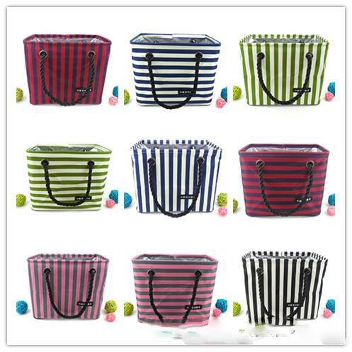 d61a6de78e66 10 Styles Foldable Storage Basket Waterproof Stripe Style Travel Storage  Bag Portable Clutter Storage Bins Cosmetic Snacks Toy Storages