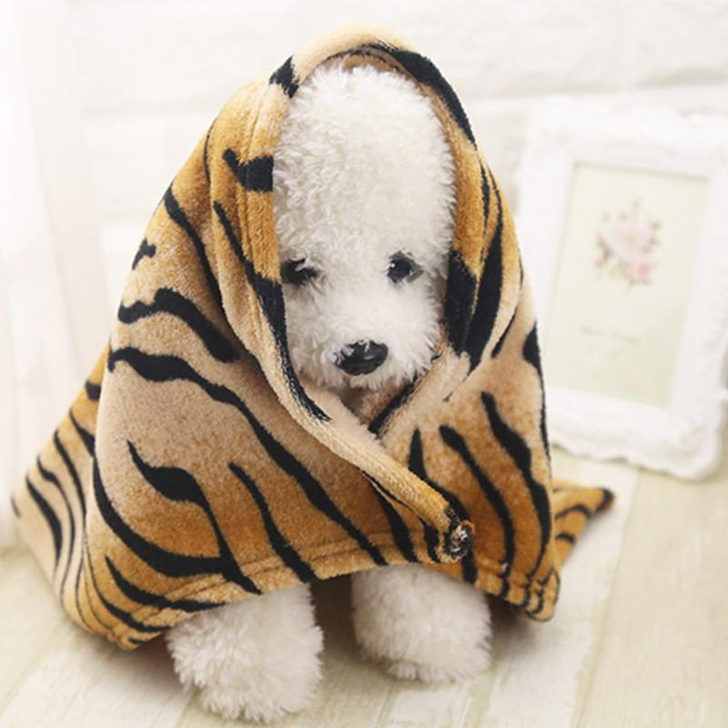 Creative Pet Dog Blanket Woolen Tiger Pattern Soft Dog Cat Pet Bed Cover Throw Flannel Blankets 2 Sizes Puppy Warm Sleeping Mats