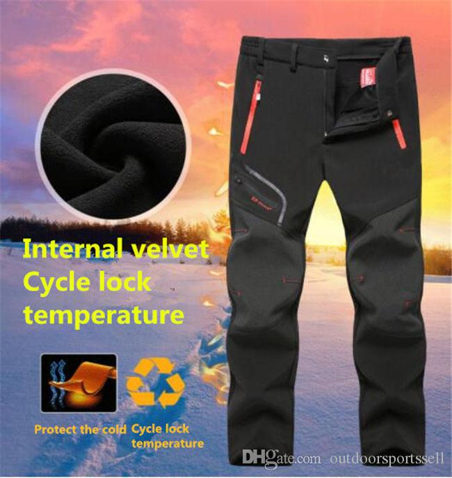 HOT selling Outdoor Gore Tex, Men and Women Plus Velvet Thicken Fleece Softshell Pants, Waterproof Mountaineering Ski Pants