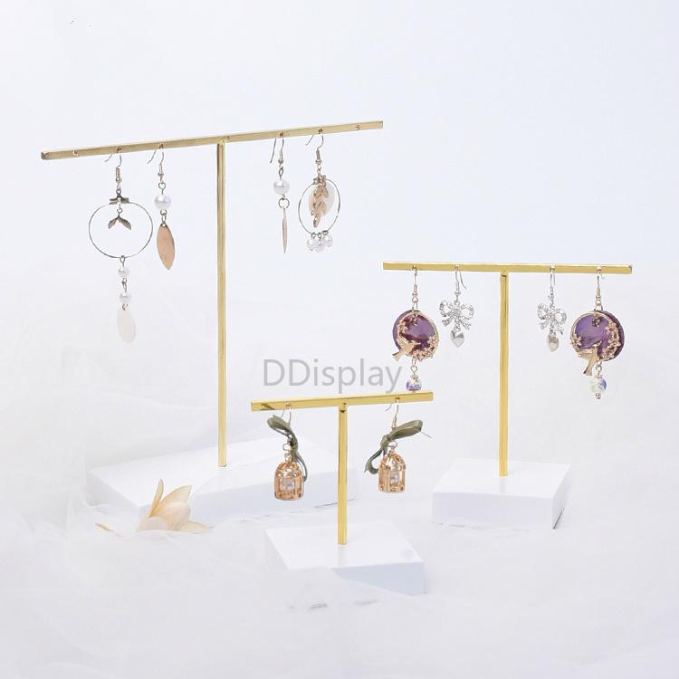 [DDisplay]Ins Style T-Bar Earring Jewelry Stand Metal Earring Display with Resin Tray Earrings Storage Rack for Jewelry