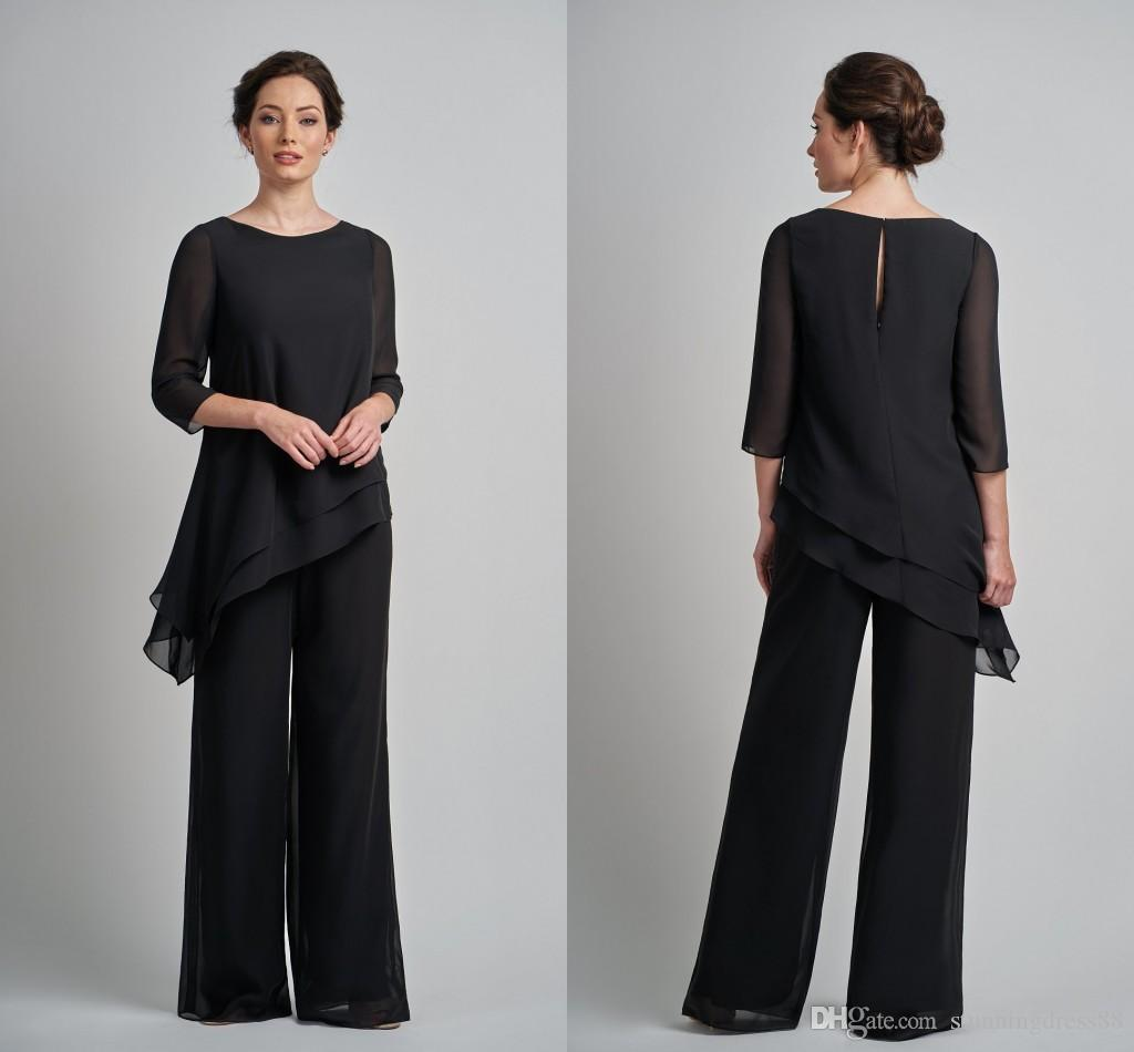 3eea07aaf8 Simple Black Two Pieces Mother Of The Bride Groom Pants Suits Cheap Unique  Designed Plus Size 3 4 Long Sleeves Evening Gowns J0an Rivers Joan Joan  Rivers ...