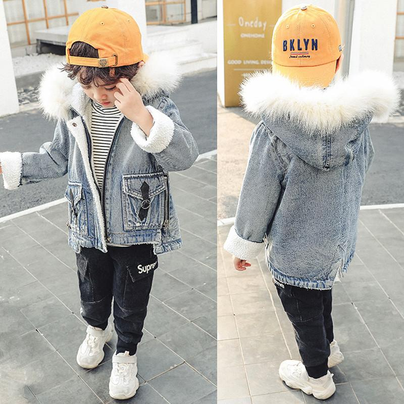 5bac81633 2018 New Baby Boy Clothes Kids Winter Jacket Fleece Lined Fur Hooded ...
