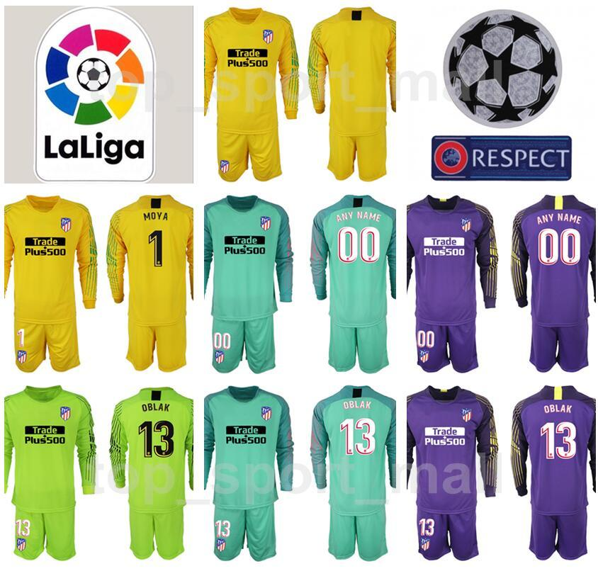 La Liga Goalkeeper Atletico Madrid Long Sleeve Soccer 13 Jan Oblak 1 Antonio Adan Jersey Set 1 Moya Football Shirt Kits 2018 2019