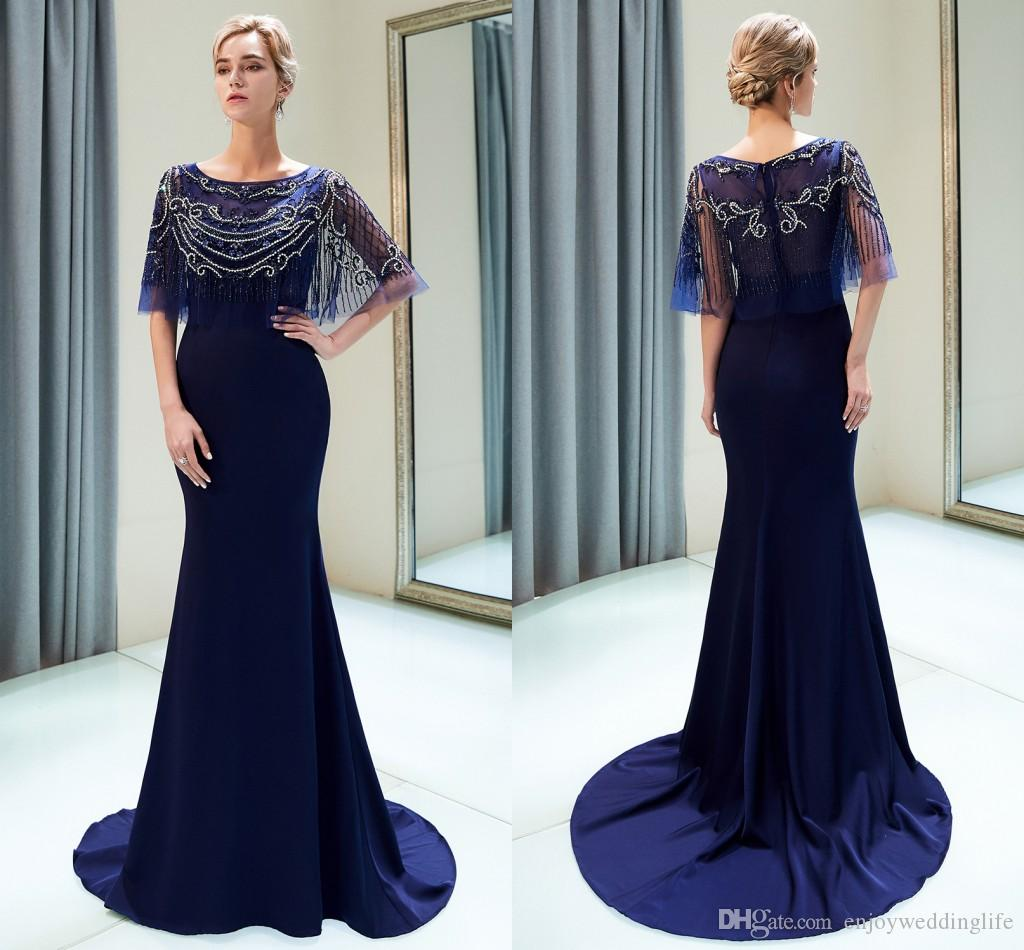 ce9dcba3c1 Navy Blue Sparkly Designer Prom Dresses 2019 New Red Mermaid Crystals  Beaded Pearls Formal Evening Gowns Custom Made CPS1159