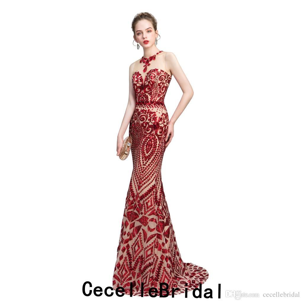 566bce23c238 Acquista New Red Paillettes Nude Mermaid Long Abito Da Sera Donna 2019  Sleeveless Lady Sparkly Elegante Abiti Da Sera Le Donne Robe De Soiree A   76.35 Dal ...