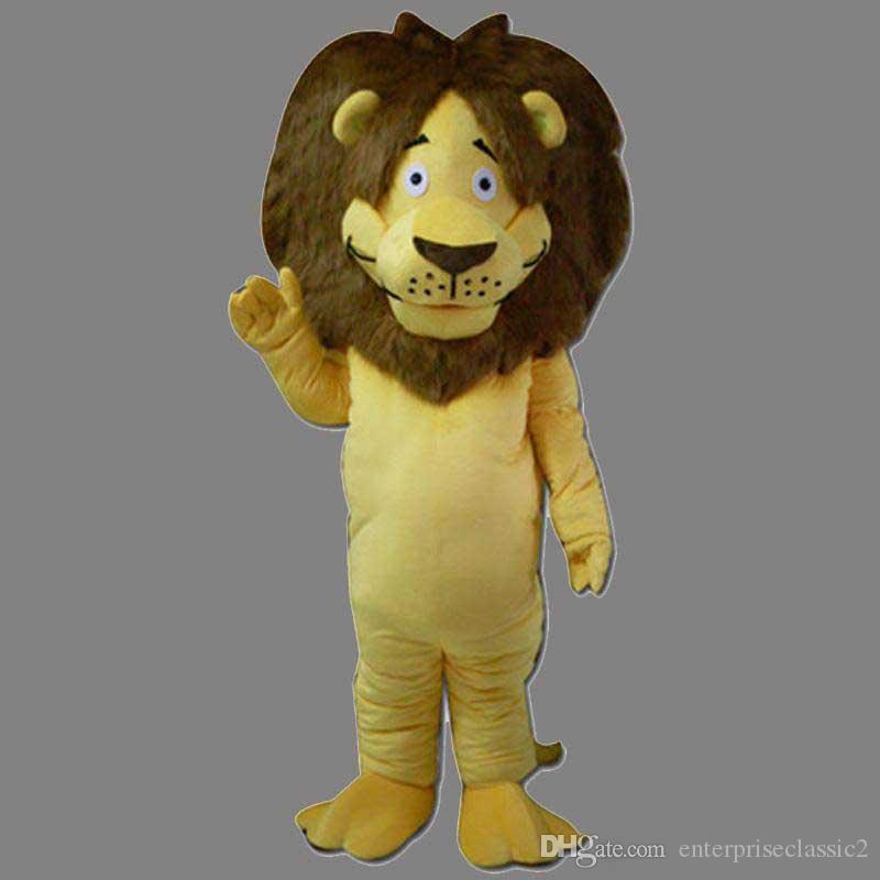 NewMascot Costume Lion Halloween Christmas Birthday Character Costume Dress Yellow Smile Lion Mascot Envío Gratis