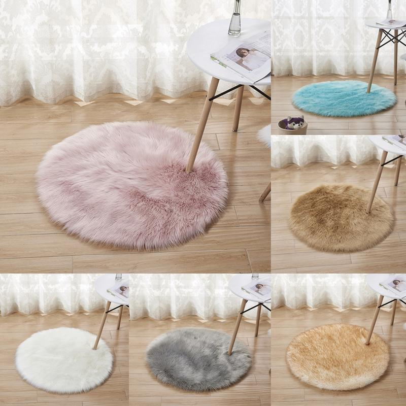 Round Floor Mat Fluffy Rugs Anti-Skid Shaggy Area Rug Room Home Bedroom Carpet