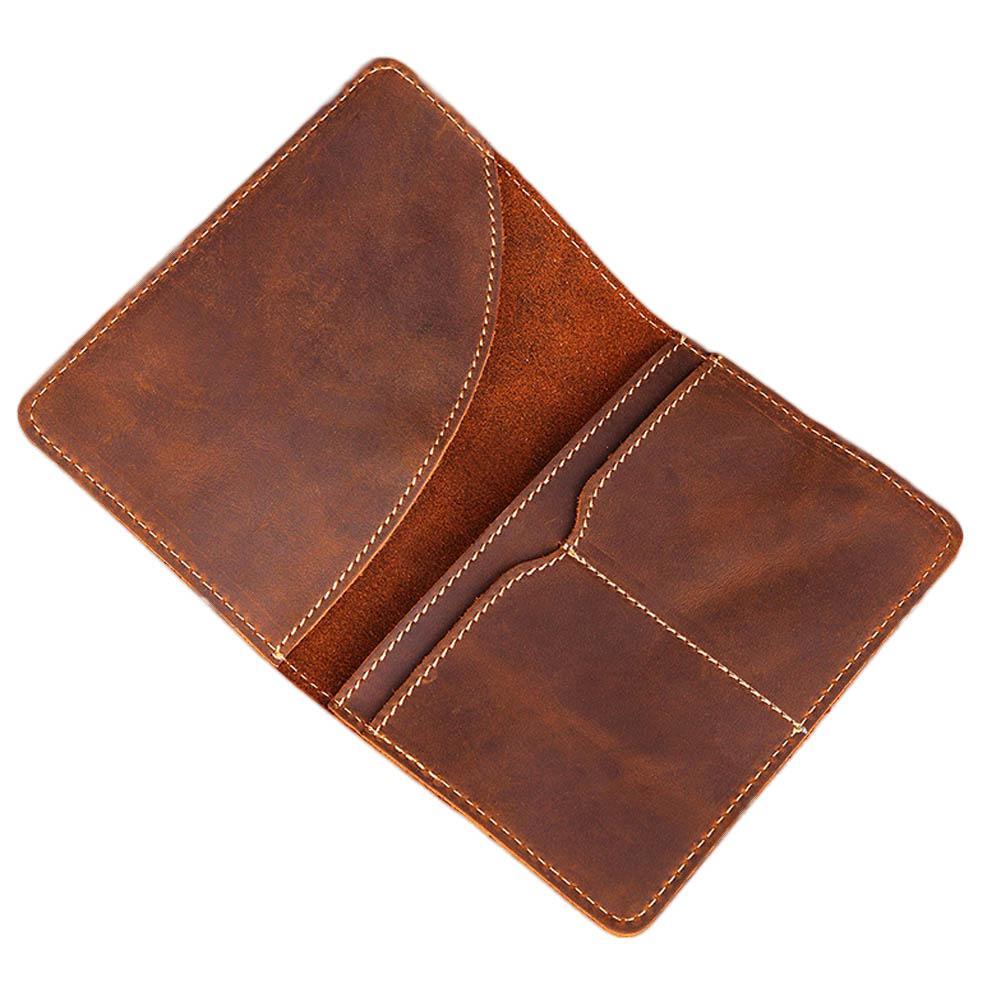 b356875501df Leather Long Wallet Passport Cover Business Men Cowhide Travel Passport  Holder Bag Purse Retro Card Case Pack