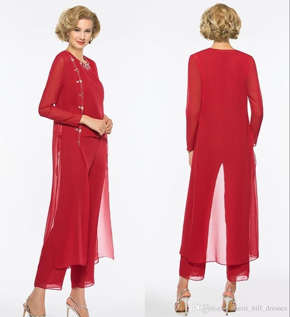 717a9886f Compre 2019 Elegante Rojo Largo Madre De Los Vestidos De Novia Pantalones  Traje Funda Manga Larga Joya Custom Wedding Prom Madre De La Novia Vestidos  A ...
