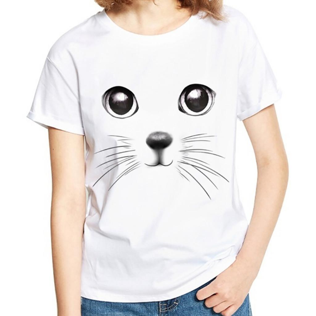 e6d35a8e69789 Acheter Femmes Chat Tops Pour Les Filles 3D Imprimer Animal À ...