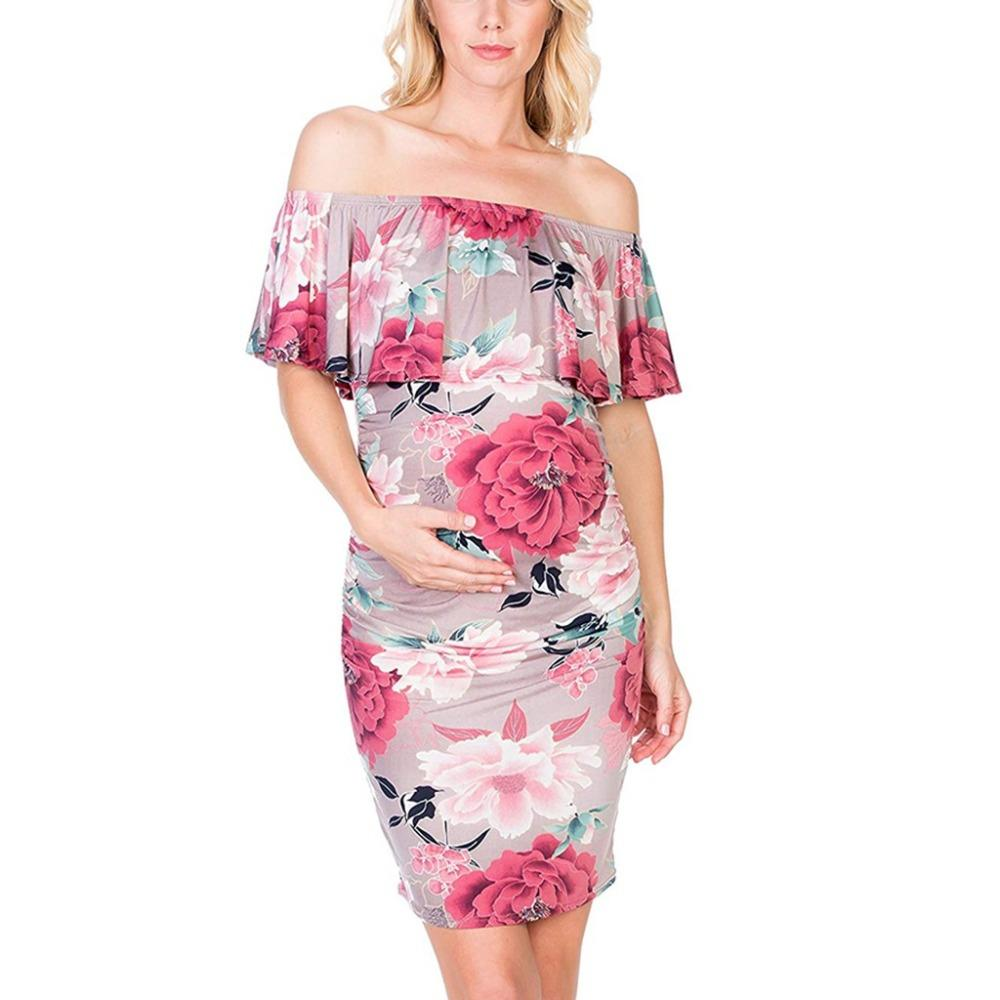f4c494aa3427f Backless Off Shoulder Ruffle Maternity Dress For Pregnant Women Clothes  Floral Printed Vestidos Pregnancy Clothing Gravidas