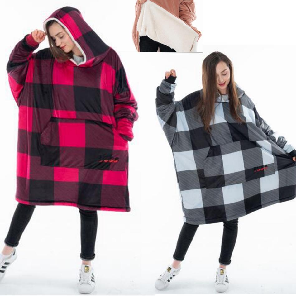 9ddfa0b520f 2019 Plaid Blanket Sweatshirt Super Soft Warm Comfortable Sherpa Hoodie  With Giant Pocket Cozy Sherpa Blanket Sweatshirt MMA1200 From  Liangjingjing no1