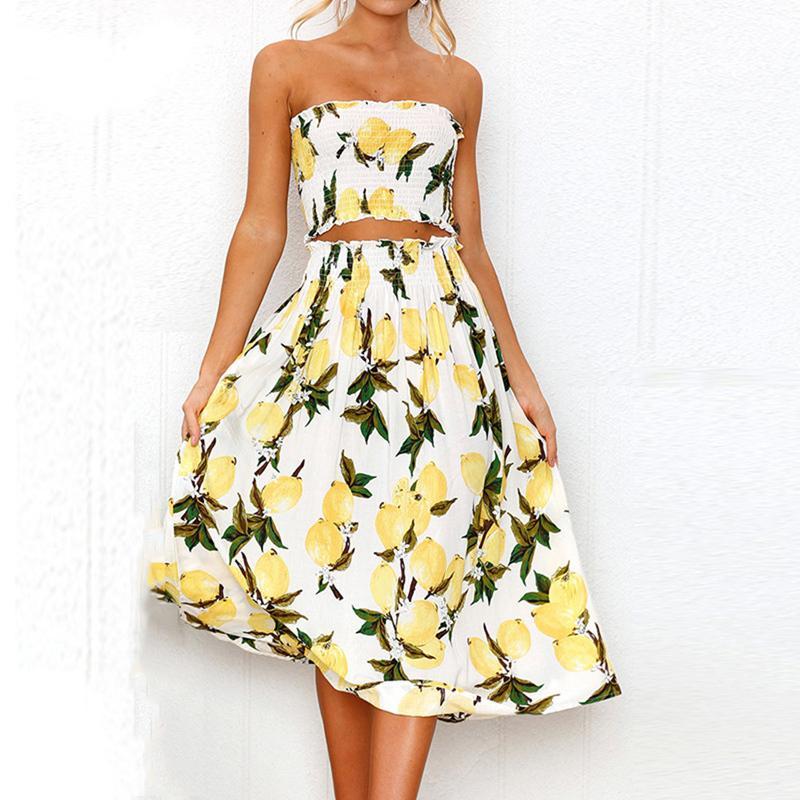 32e70a14e035 Boho Lemon Sunflower Print Dress Women Summer Beach Sexy Strapless Two  Pieces Wrap Tops Long Dress Pleated White Vestidos S XL Summer Flower Dress  Party ...