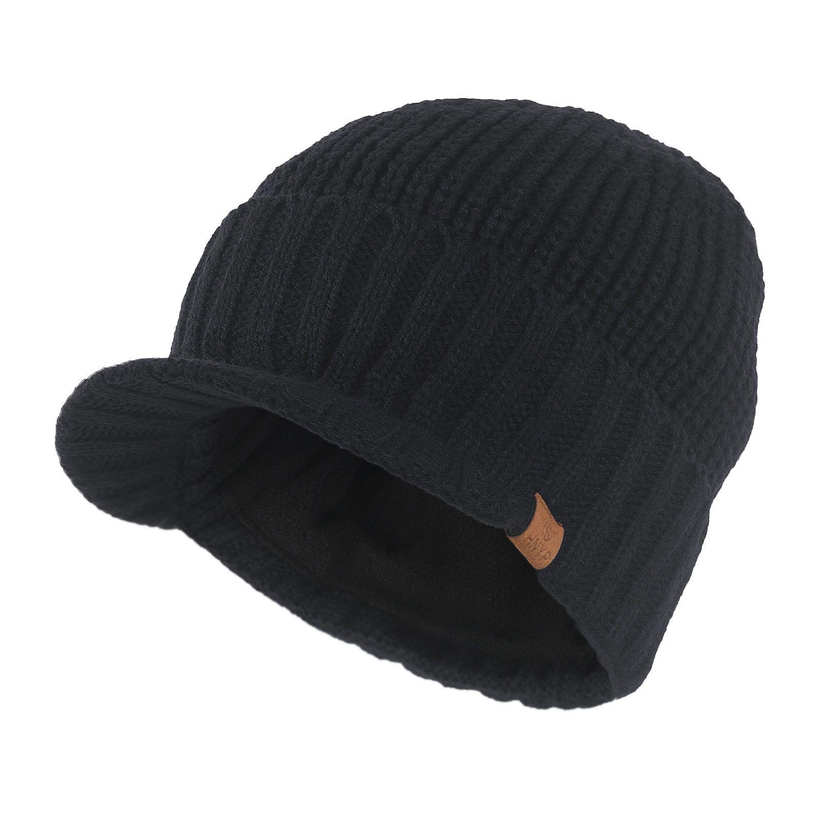 51795001af4 Mens Winter Stylish Black Visor Brim Beanie Brimmer Billed Hat Knit  Baseball Cap Snapback Hats Cowboy Hats From Fashionf