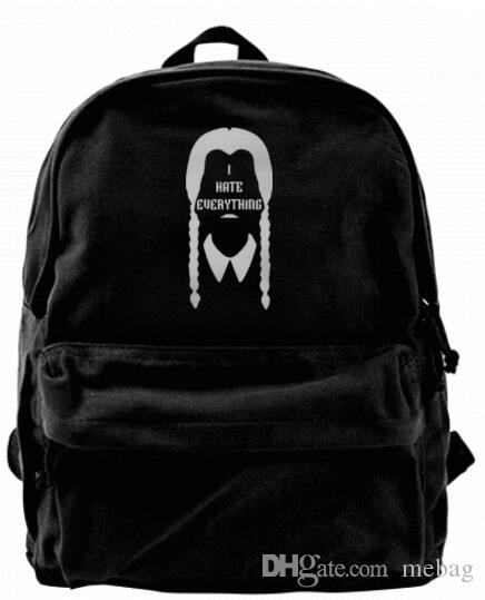 Addams Family Wednesday I Hate Everything Fashion Canvas Designer Backpack  For Men   Women Teens College Travel Daypack Leisure Bag Black Leather  Backpack ... ab0619b07b834