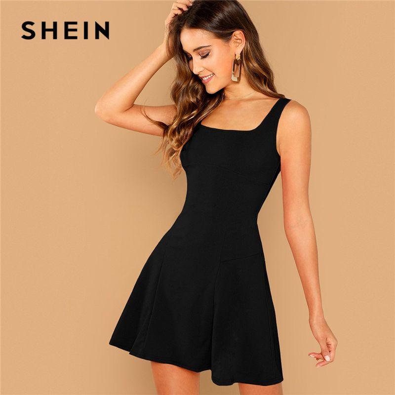 8310b80070 SHEIN Black Fit And Flare Solid Elegant Straps Sleeveless Plain A Line  Dresses Women Summer Autumn Zipper Short Dress Q190425 Lace Dresses Green  Dress From ...