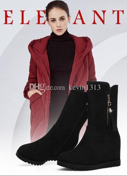 Women wear knee boots, suede boots, autumn and winter women's clothes, fur, warm black high-heeled shoes, boots and winter shoes