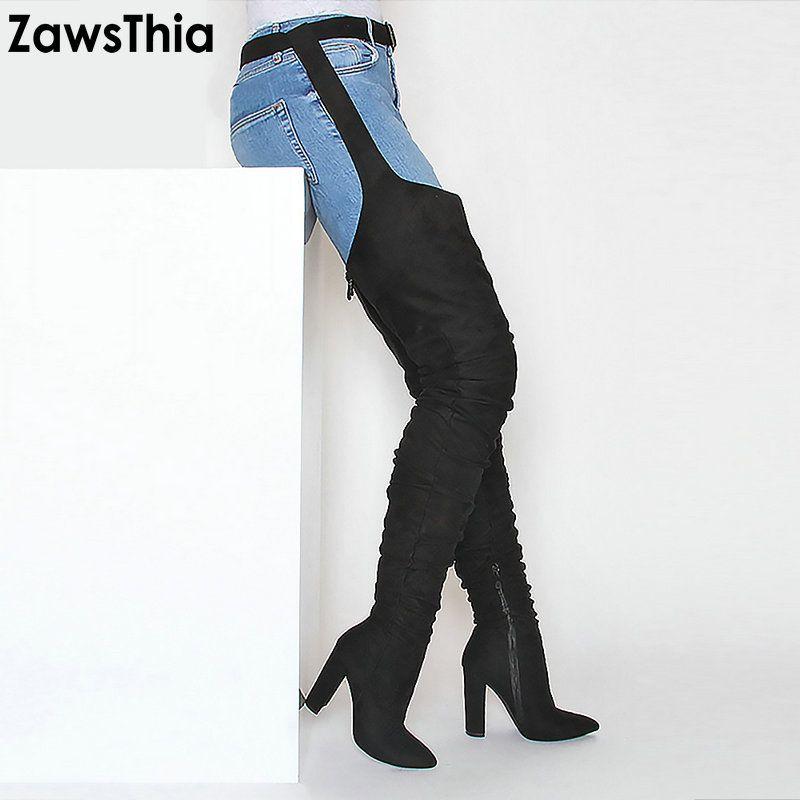 High Schnalle Sexy Rihanna Schuhe Booties Overknee Frau Zawsthia Taille Heels Stil Blockieren Hohe Oberschenkel Lange Stiefel 3lcT1KFJ