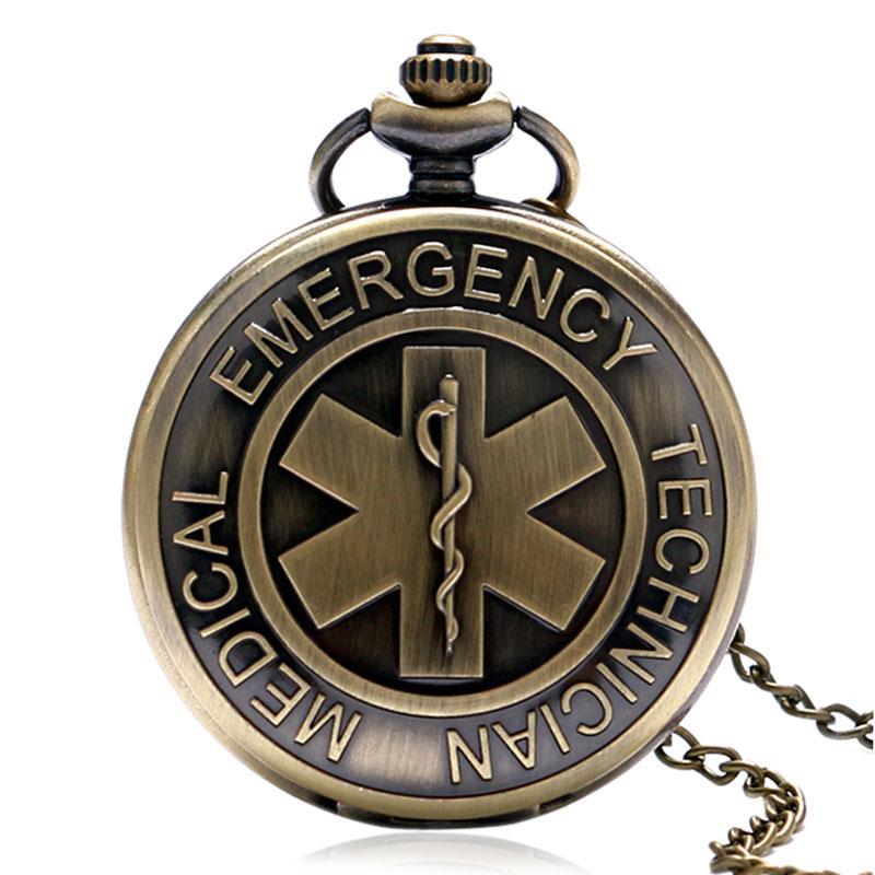 6e3b44e6b24 Compre 100 Pçs   Lote EMT Emergência Médica Técnico Emblema Paramédico  Estrela Da Vida EMS Resgate Enfermeira Médico Quartz Relógio De Bolso Colar  De ...