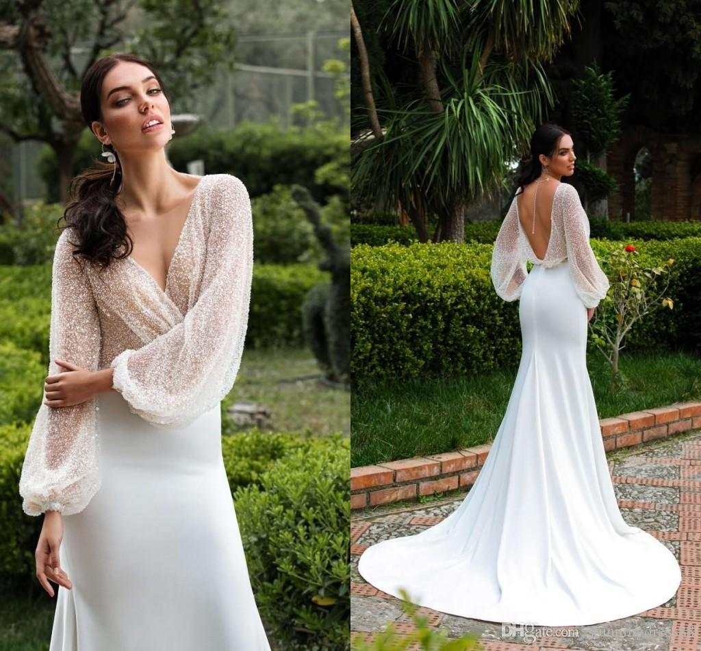 2b4e607f4b6 Bling Sequined 2019 Wedding Reception Dress Deep V Neck With Juliet Long  Sleeves Mermaid Satin Cheap Price Vestidos Do Novia Wedding Dress Strapless  Mermaid ...