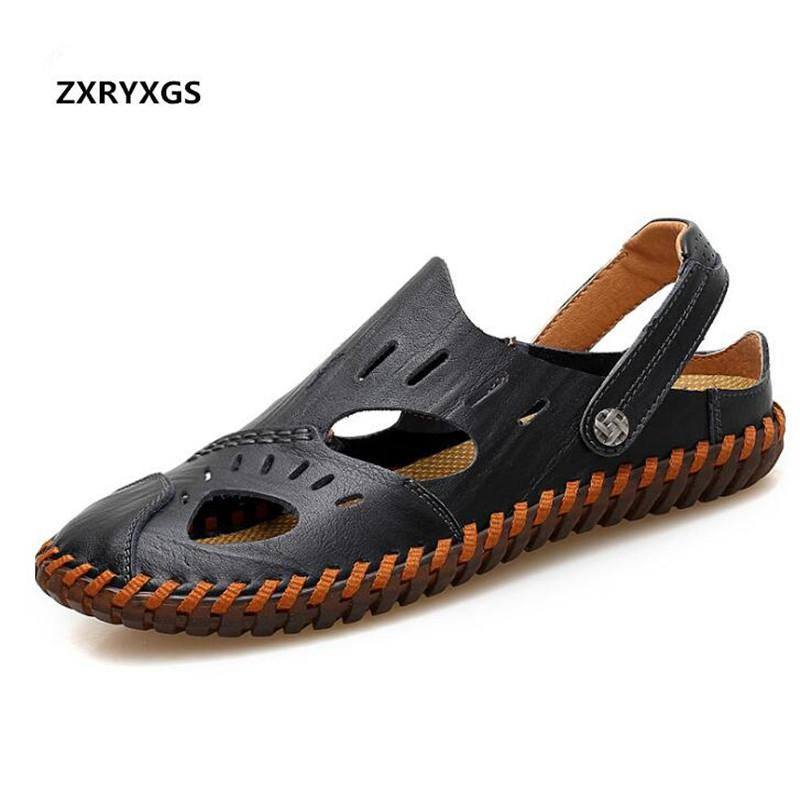 5af43b61b61d61 ZXRYXGS Brand Shoes Men Sandals Slippers 2019 New Soft Comfort Genuine  Leather Slippers Men Sandals Casual Shoes Flat Non Slip High Heels Shoes  Green Shoes ...