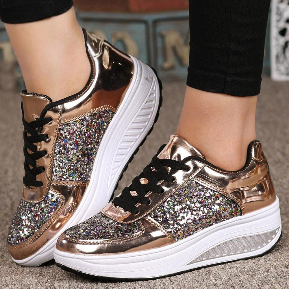 f9be949fb Designer Dress Shoes Sagace Women Ladies Wedges Sneakers Sequins Shake  Single Fashion Girls Sport Lace Up New Woman 2019feb8 Black Shoes Nude Shoes  From ...