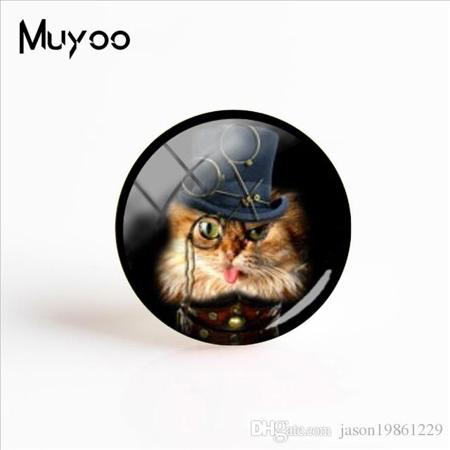 2019 New Steampunk Fashion Handcraft Jewelry The Cats In The Hat Glass Cabochon Jewelry Adorable Animal Gifts For Women