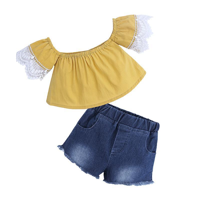 04e61273b Compre Meninas Conjuntos De Roupas De Verão Amarelo Tos E Calça Jeans  Shorts Set Roupas De Bebê Infantil Moda INS Roupas Para 1 7y De Newestable,  ...