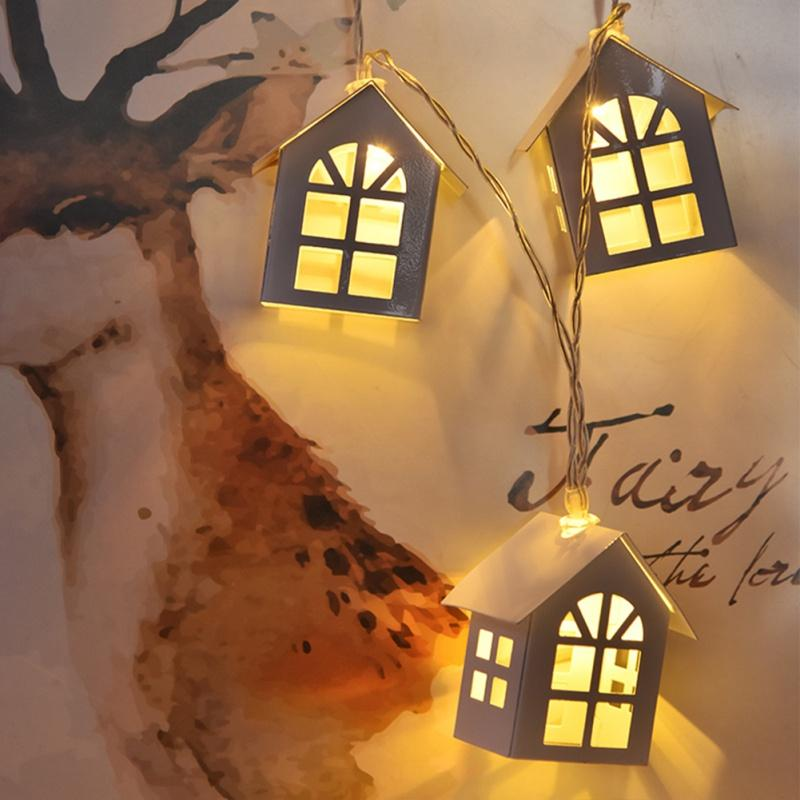 1.5M Creative DIY Wooden LED Light Wood HOUSE String Wedding Garland New Year Christmas Decorations for Xmas Party