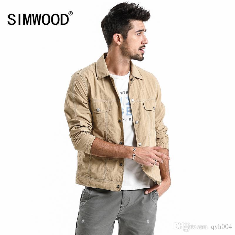 7391aa5b7e SIMWOOD Brand Jacket Men 2018 New Autumn Casual Thin jacket Men Fashion  Plus Size Outerwear High Quality Coats 180065