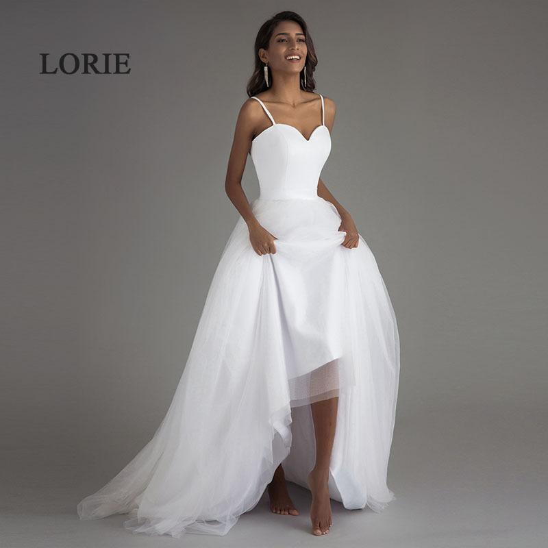 Lorie Spaghetti Strap Beach Wedding Dresses 2019 Vestido Noiva Praia White Tulle With Sashes Boho Bridal Gown A-line Bride Dress Y19072901